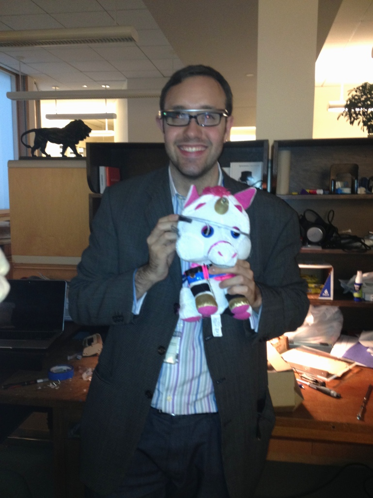 Neal Stimler and DH Unicorn in their native habitat at the Met offices.