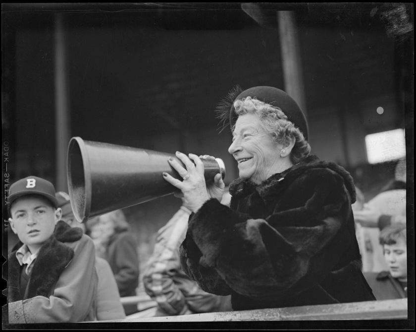 Lolly Hopkins cheers on the Braves with megaphone. CC BY-NC-ND 2.0 image from Boston Public Library