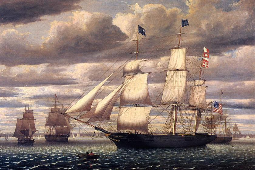 Fitz Henry Lane (1804–1865), Gloucester, Mass.,  Ship Southern Cross in Boston Harbor, 1851.  Oil on canvas, 25¼ x 38 inches.  Gift of Stephen Wheatland (1987, M18639). Licensed under Public domain via Wikimedia Commons